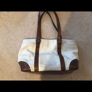 Coach white leather tote